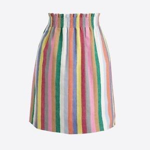 J. Crew mixed rainbow stripe linen sidewalk skirt